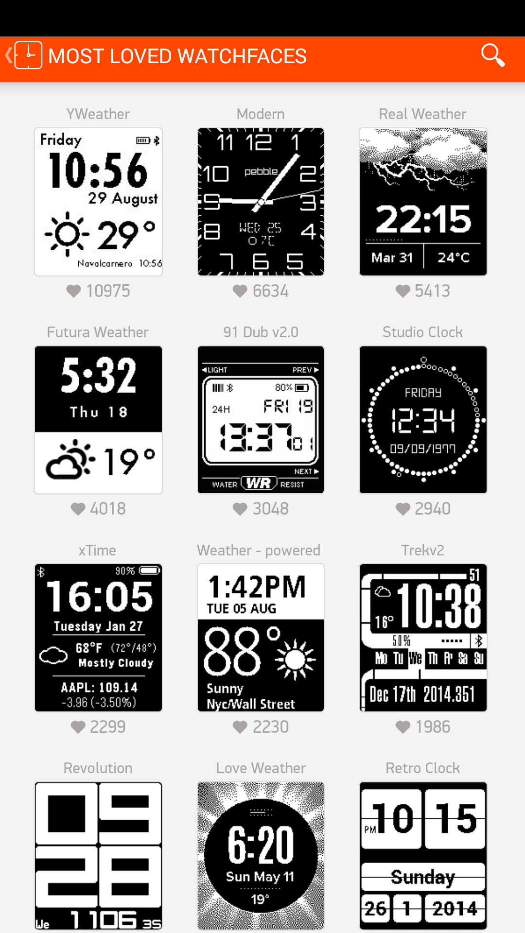 Pebble App - Watchfaces