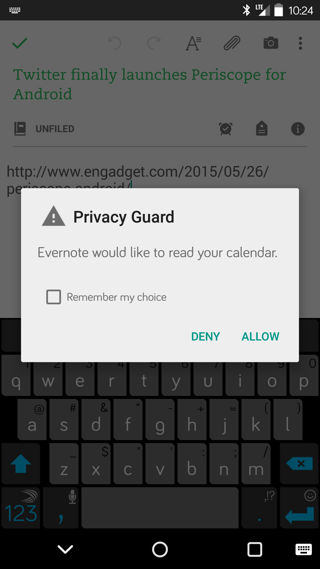 Privacy Guard - Evernote