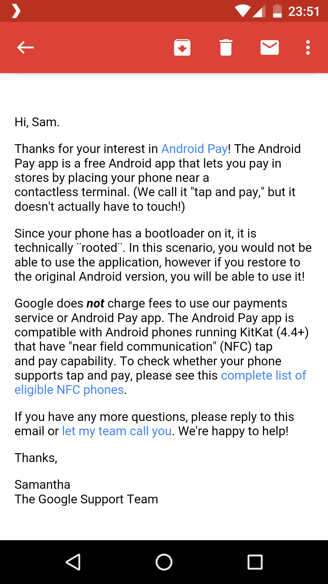 Google Support Email re: Android Pay