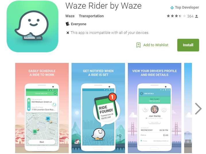 Waze Rider Play Store Listing