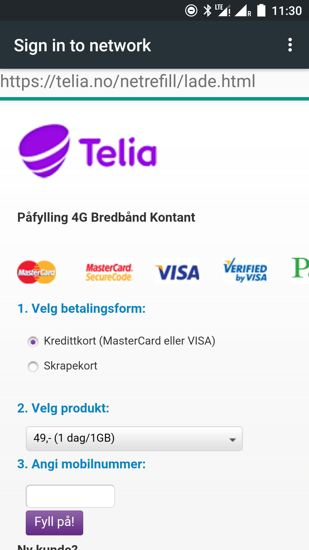 Telia top-up